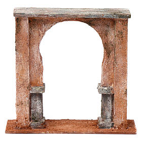 Wall with arched window for 12 cm nativity scene, Palestine style s1