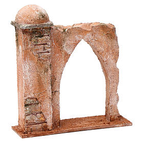 Wall with pointed arch and pillar for 10 cm nativity scene, Palestine style s3