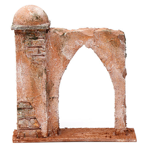 Mur arc en ogive et colonne pour crèche 10 cm 20x15x5 cm style palestinien 1