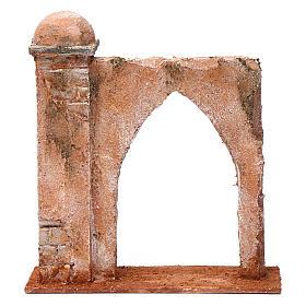 Muro arco ogivale e colonna da un lato per presepe 12 cm 20X20X6 stile palestinese s1
