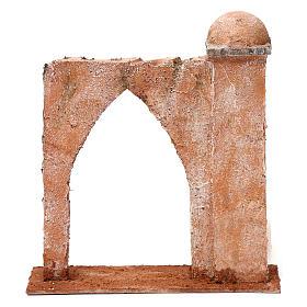 Muro arco ogivale e colonna da un lato per presepe 12 cm 20X20X6 stile palestinese s4