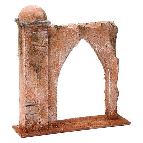 Muro arco ogivale e colonna da un lato per presepe 12 cm 20X20X6 stile palestinese 3