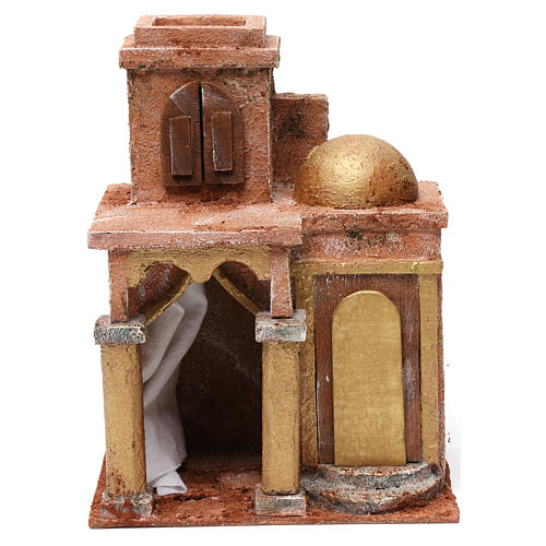 Arab house with dome and curtain for 10 cm nativity scene 1