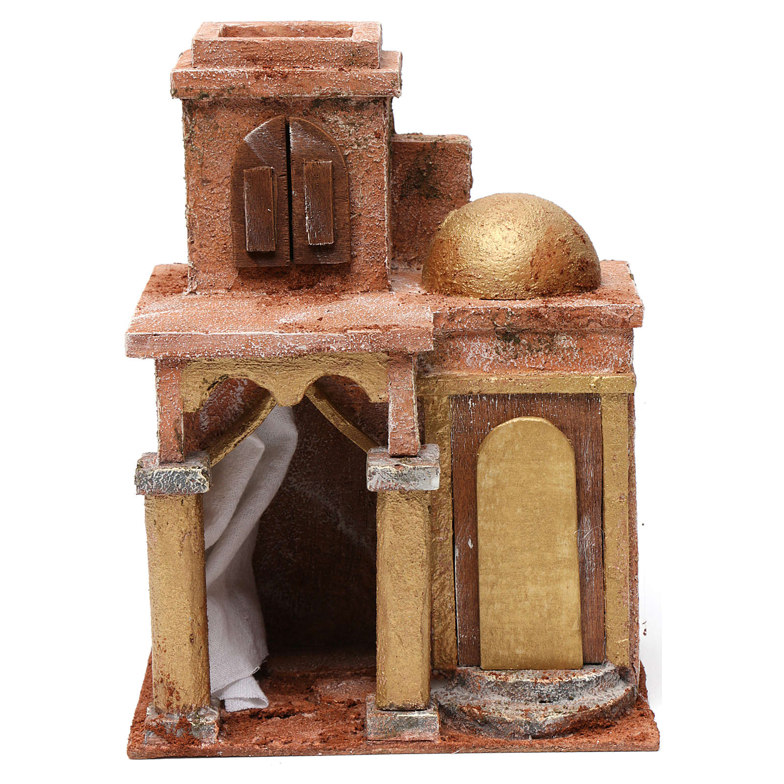 Casa árabe con cúpula y cortina para belén 10 cm de altura media 25x15x20 cm 4