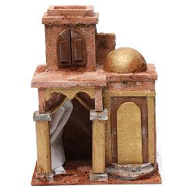Maison arabe avec dôme et rideau pour crèche 10 cm 25x15x20 cm s1