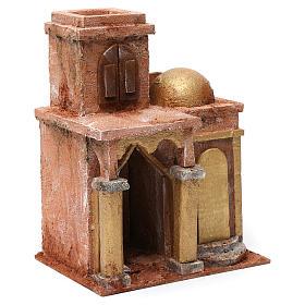 Maison arabe avec dôme et rideau pour crèche 10 cm 25x15x20 cm s3