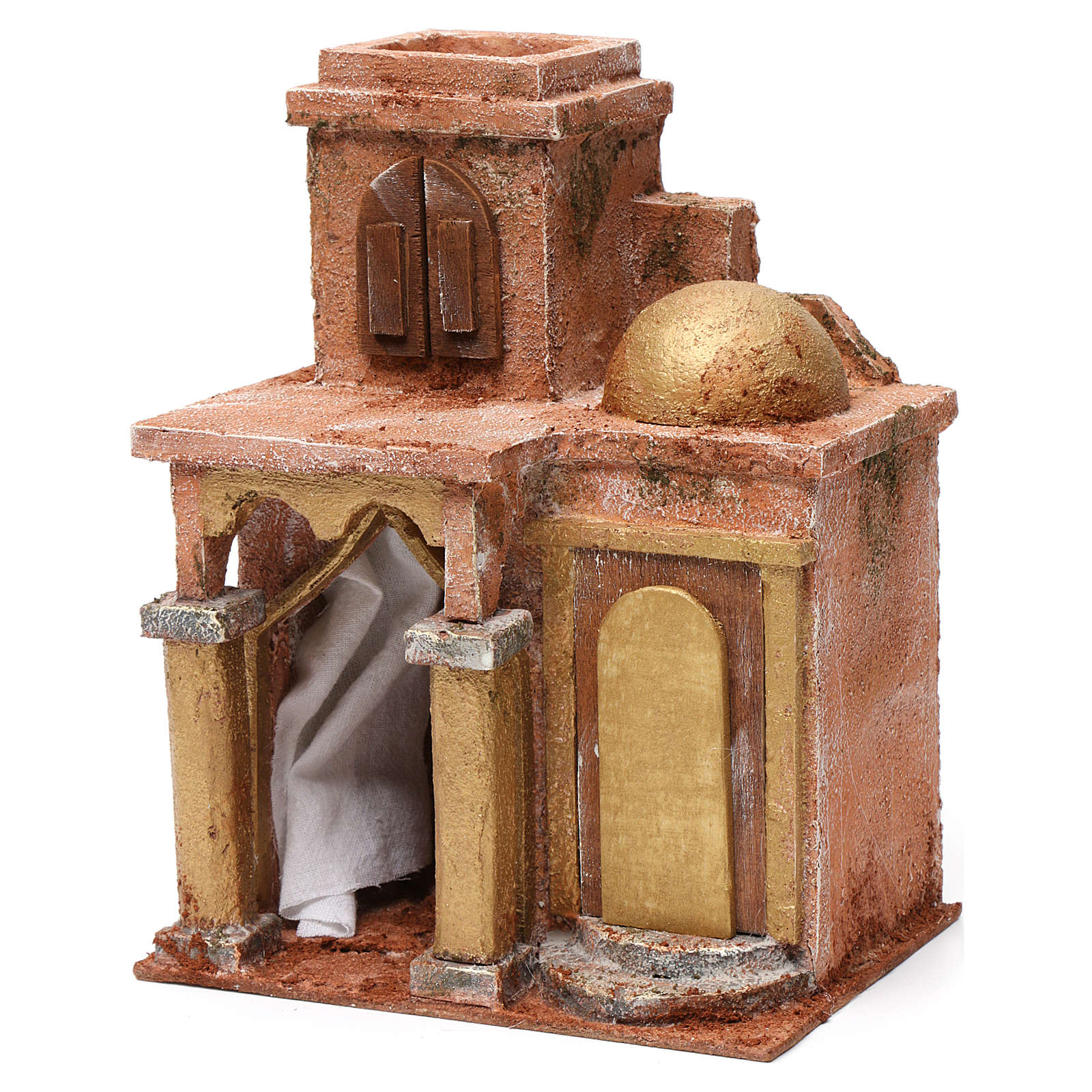 Arab House with Dome and Curtain for 10 cm Nativity 25X15X20 cm 4