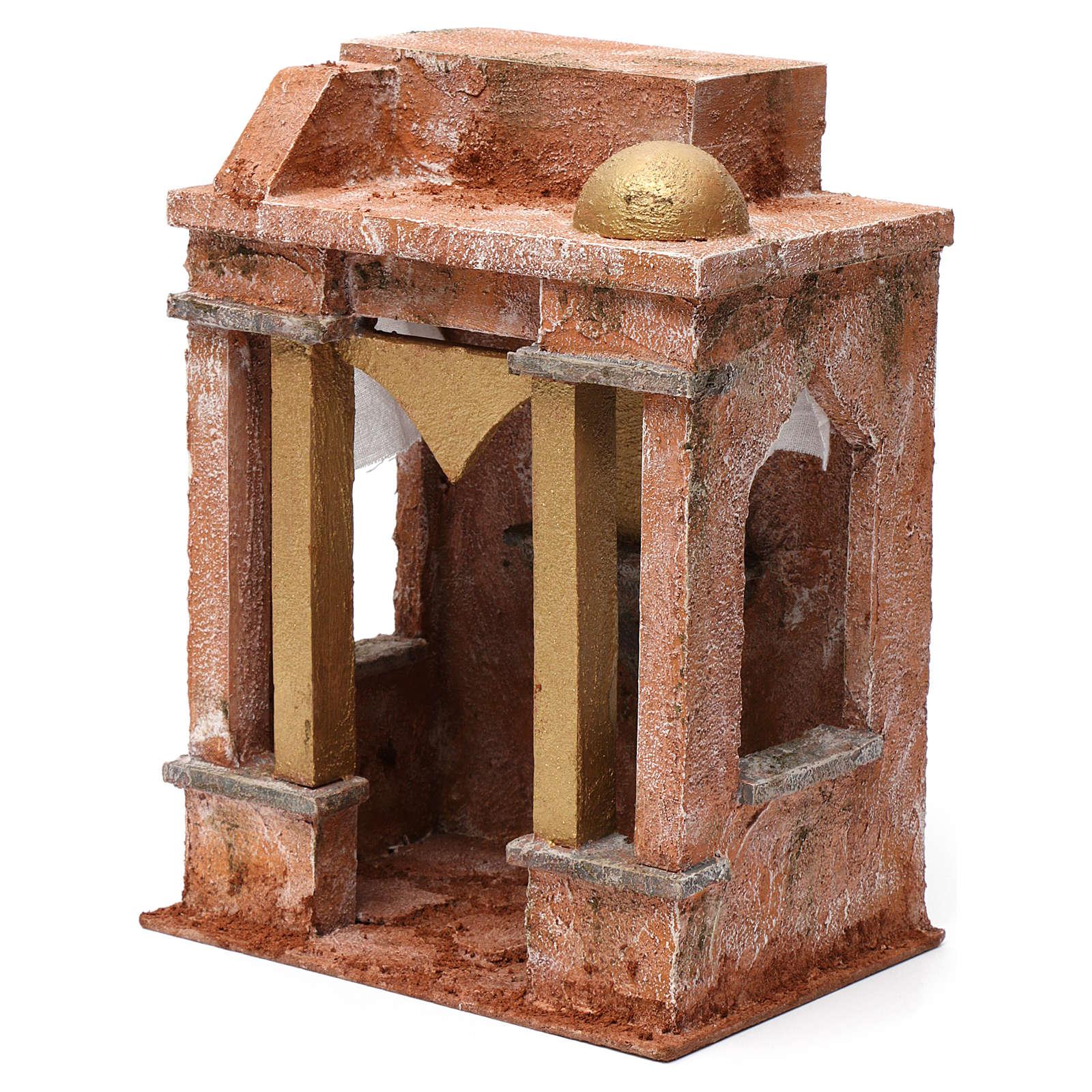 Ambientación árabe con pequeña cúpula cortinas a los lados y columnas para belén 10 cm de altura media 25x15x20 4