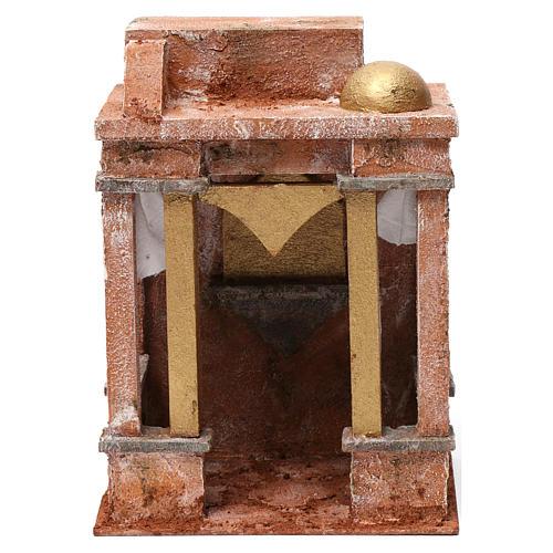 Décor arabe avec petit dôme rideaux sur les côtés et colonnes pour crèche 10 cm 25x15x20 cm 1