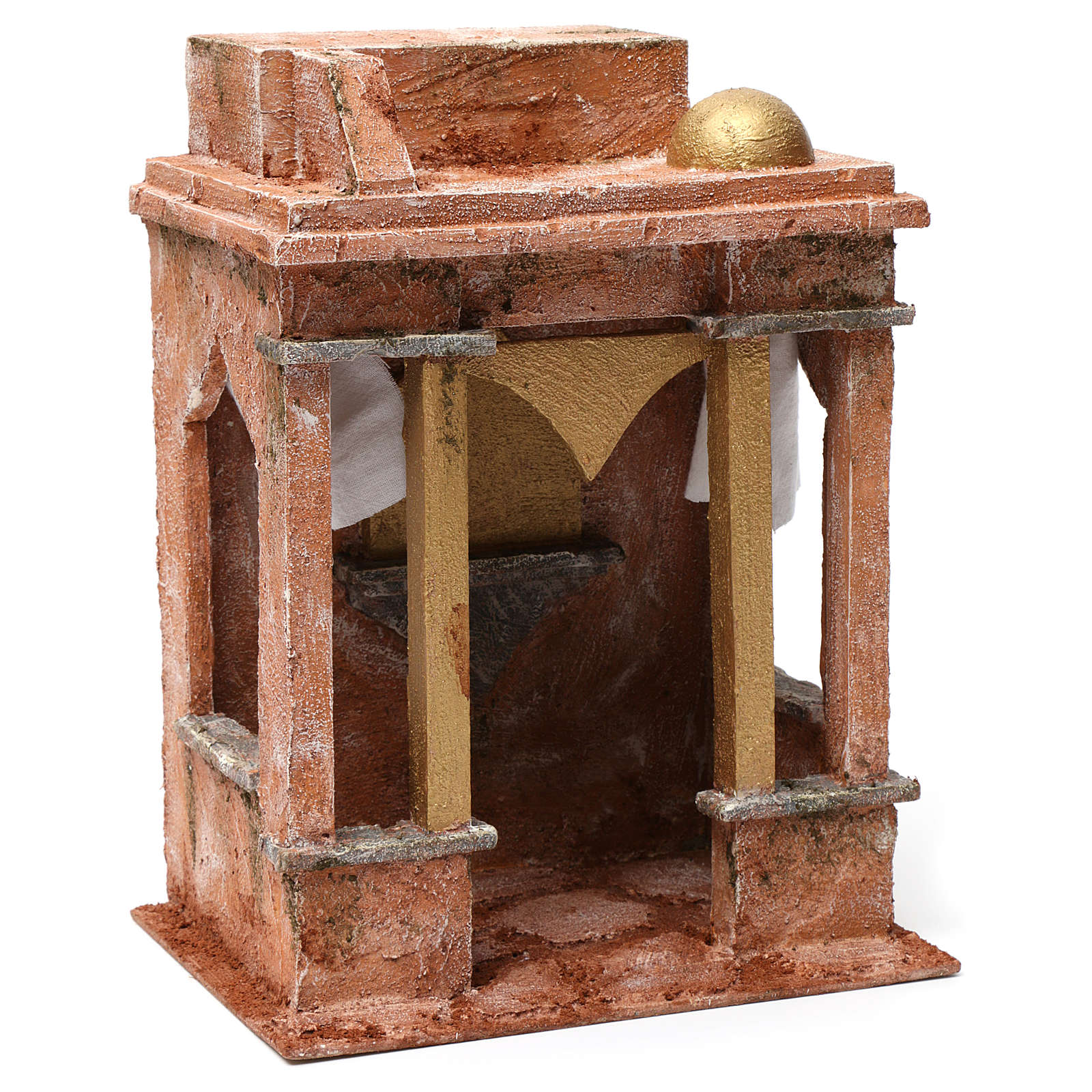 Ambientación árabe con pequeña cúpula cortinas a los lados y columnas para belén 12 cm de altura media 30x20x25 4