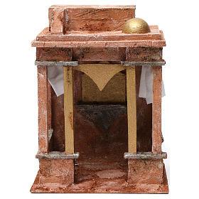 Décor arabe avec petit dôme rideaux sur les côtés et colonnes pour  crèche 12 cm 30x20x25 cm s1