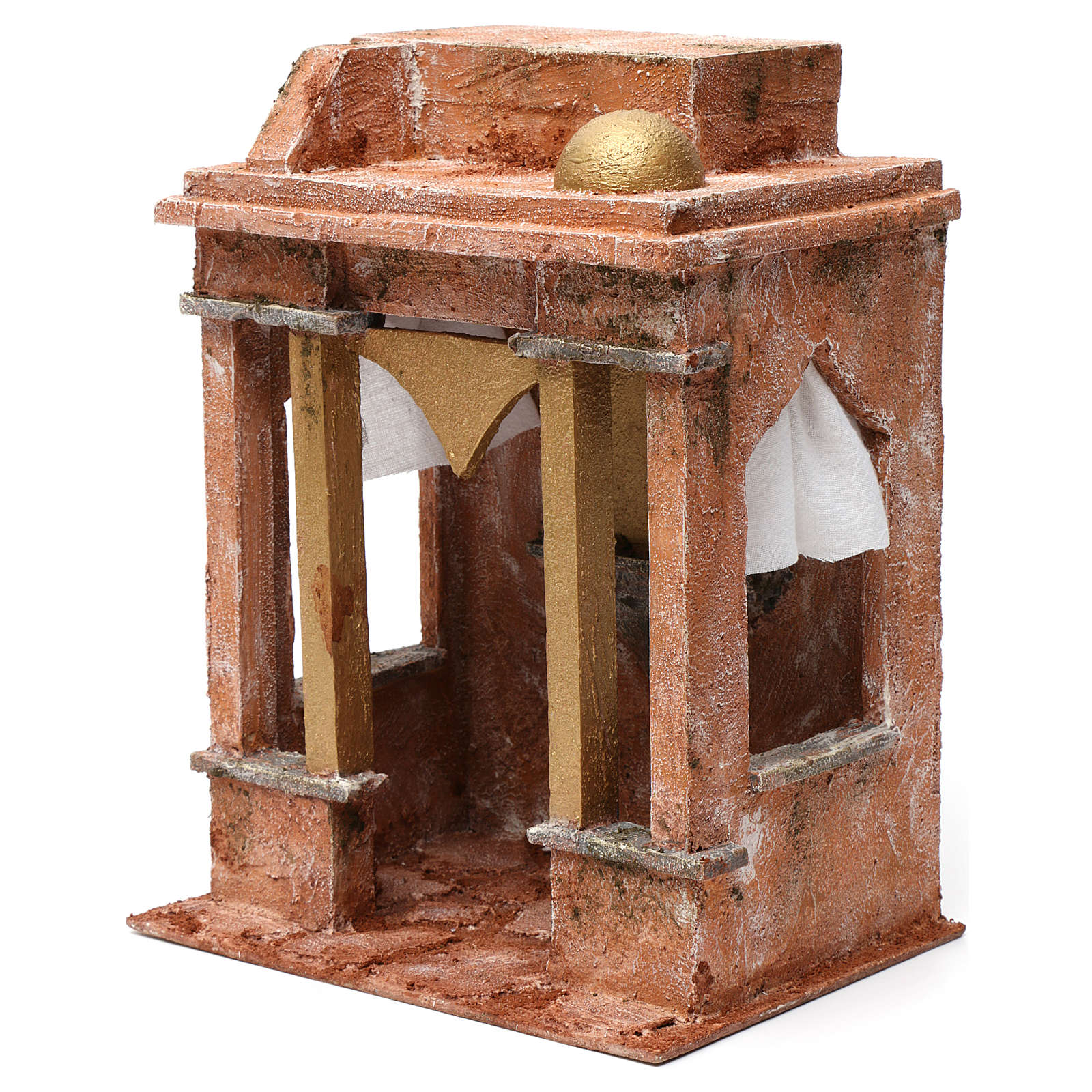 Arab House Scene with small cupola side curtains and columns for 12 cm nativity 30X20X25 4