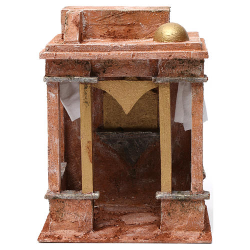 Arab House Scene with small cupola side curtains and columns for 12 cm nativity 30X20X25 1