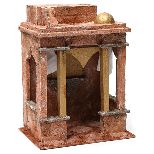 Arab House Scene with small cupola side curtains and columns for 12 cm nativity 30X20X25 3