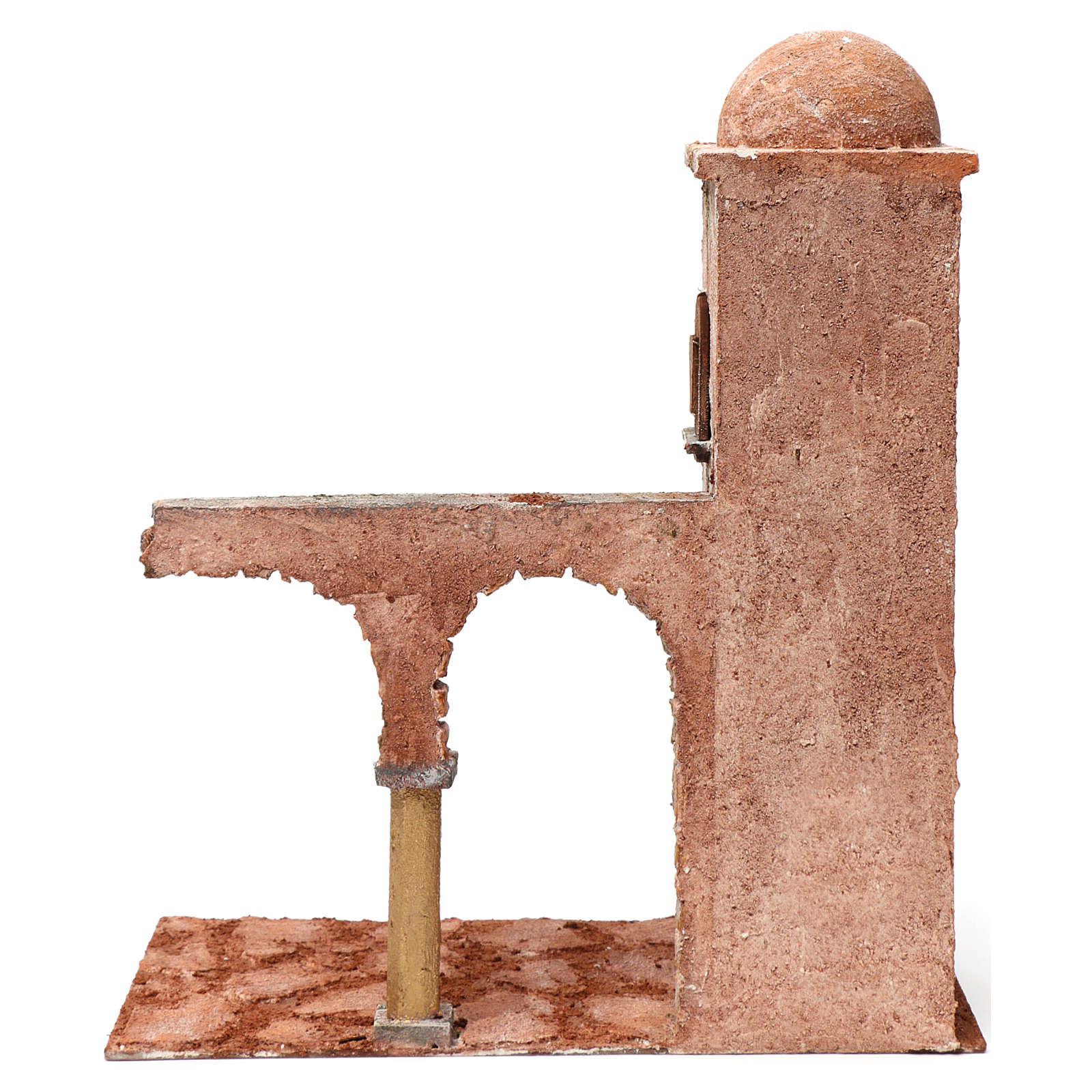 Casa araba con cupola e arco con colonna presepe 12 cm 40X20X35 cm 4