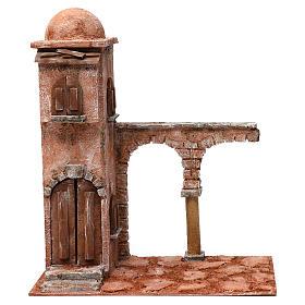 Casa araba con cupola e arco con colonna presepe 12 cm 40X20X35 cm s1