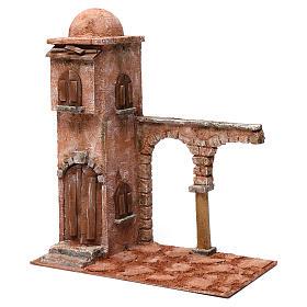 Casa araba con cupola e arco con colonna presepe 12 cm 40X20X35 cm s2