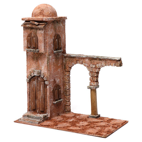 Casa araba con cupola e arco con colonna presepe 12 cm 40X20X35 cm 2