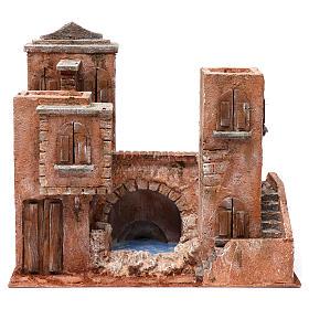 Casa con escaleras y puente y lago para belén 10 cm de altura media 35x40x25 estilo palestino s1