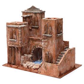 Casa con escaleras y puente y lago para belén 10 cm de altura media 35x40x25 estilo palestino s3