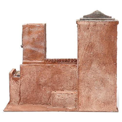Casa con escaleras y puente y lago para belén 10 cm de altura media 35x40x25 estilo palestino 4