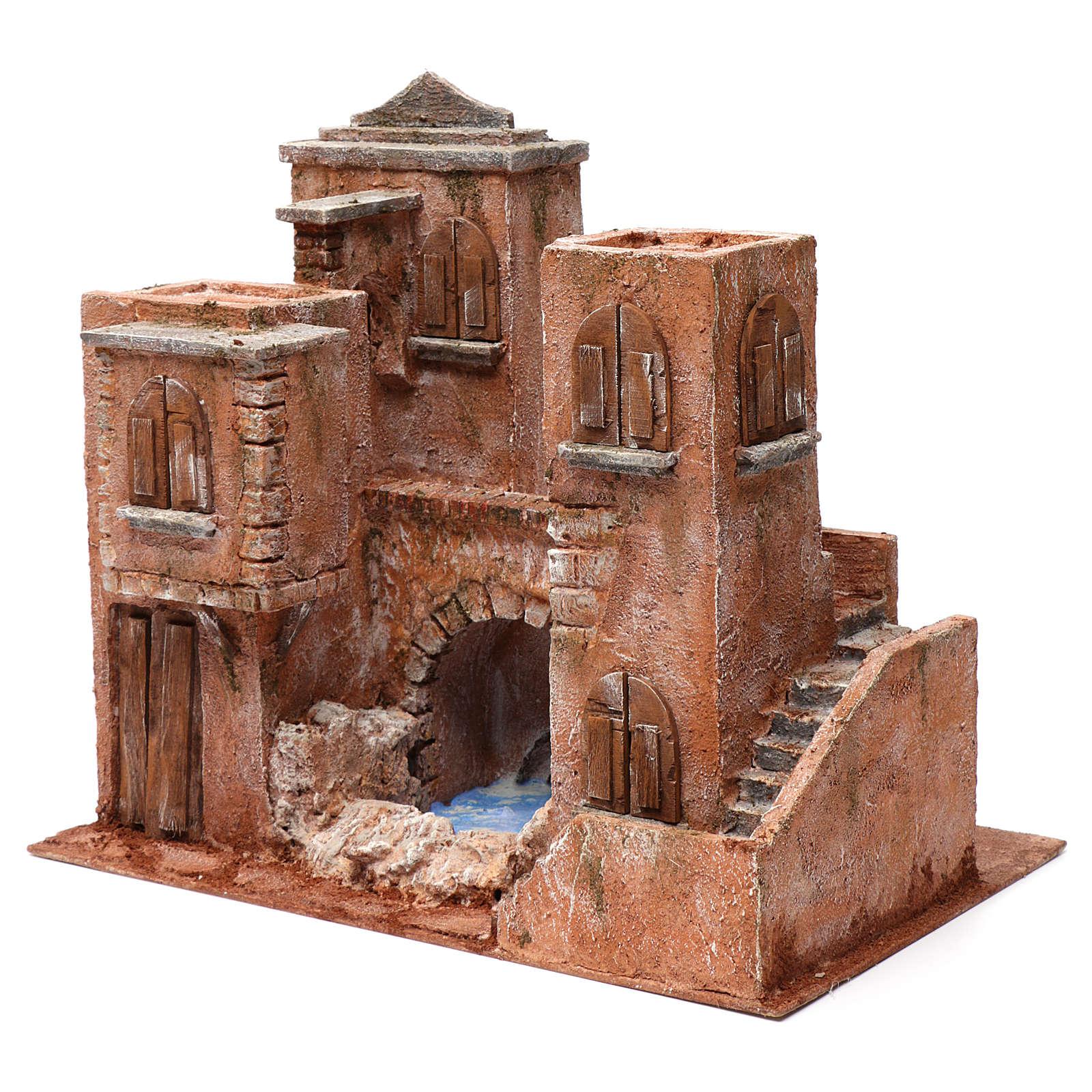 Casa con scale e ponte e laghetto per presepe 10 cm 35X40X25 stile palestinese 4