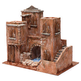 Casa con scale e ponte e laghetto per presepe 10 cm 35X40X25 stile palestinese s3