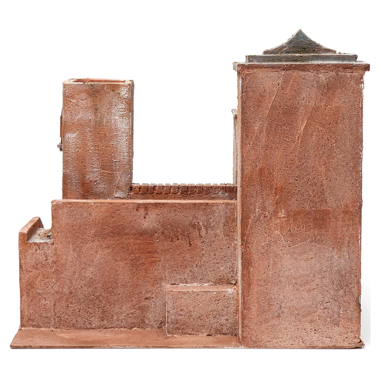 Casa con scale ponte laghetto per presepe 12 cm 40X45X30 stile palestinese 4