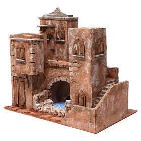 Casa con scale ponte laghetto per presepe 12 cm 40X45X30 stile palestinese s2