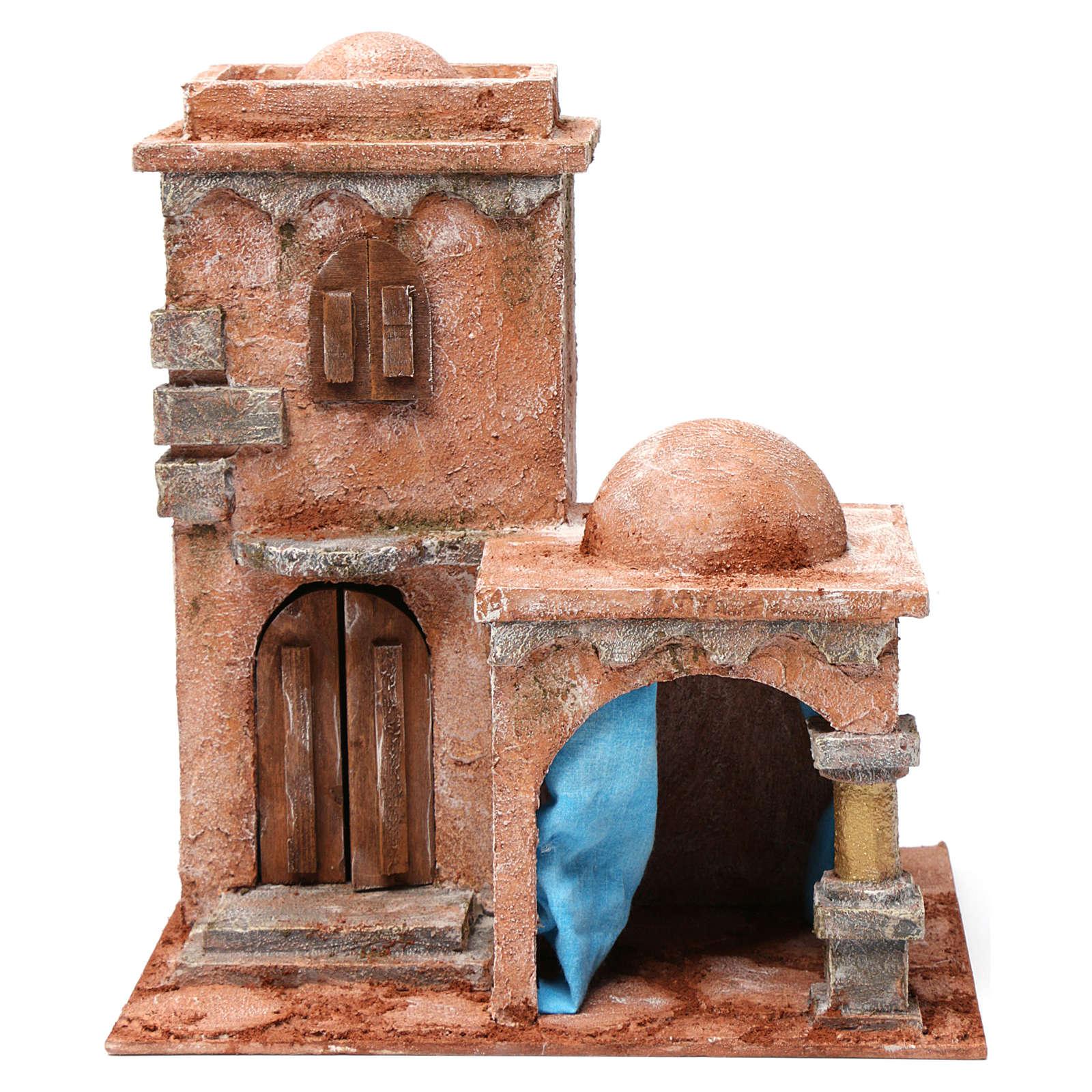 Casa araba con doppia cupola e tenda azzurra per presepe 10 cm 30X20X20 4