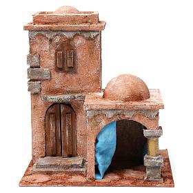 Casa araba con doppia cupola e tenda azzurra per presepe 10 cm 30X20X20 s1