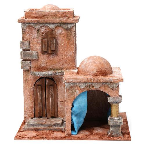 Casa araba con doppia cupola e tenda azzurra per presepe 10 cm 30X20X20 1
