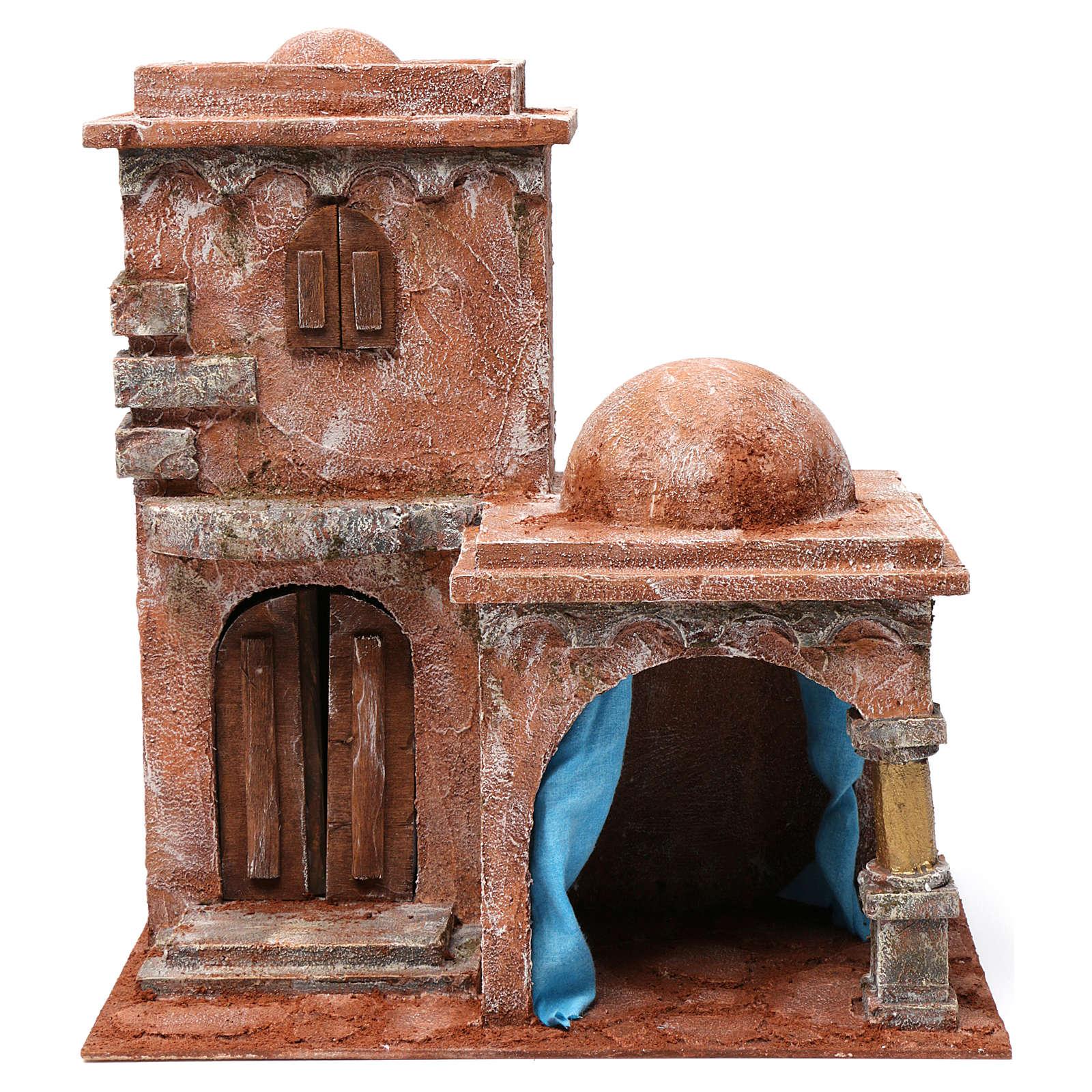 Casa araba con doppia cupola e porticato con tenda azzurra per presepe 12 cm 35X35X25 4