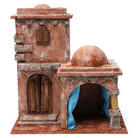 Casa araba con doppia cupola e porticato con tenda azzurra per presepe 12 cm 35X35X25 s1
