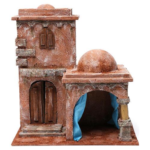Casa araba con doppia cupola e porticato con tenda azzurra per presepe 12 cm 35X35X25 1