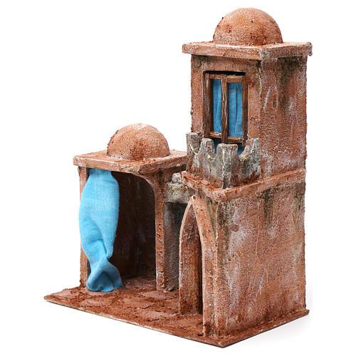 Maison arabe double dôme double porche rideaux bleus pour crèche 10 cm 30x25x15 cm 2