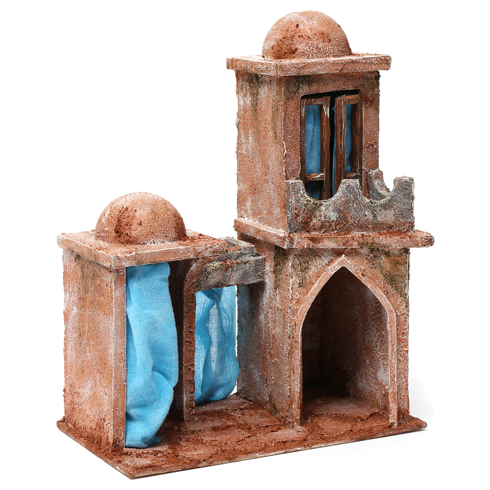 Arab House with double Cupola double Portico blue curtains for 10 cm nativity 30X25X15 4