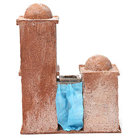 Arab House with double Cupola double Portico blue curtains for 10 cm nativity 30X25X15 s4