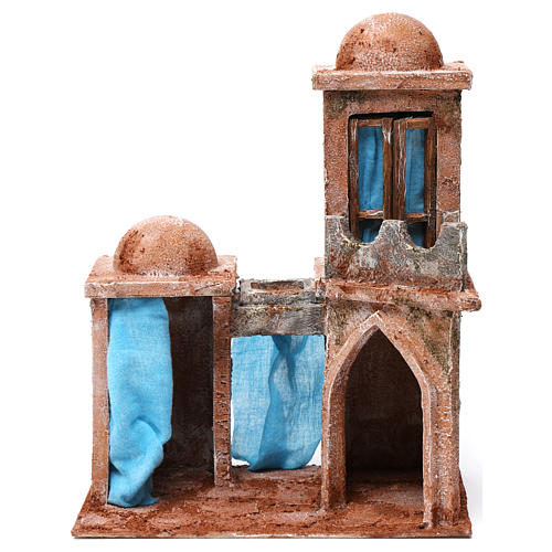 Arab House with double Cupola double Portico blue curtains for 10 cm nativity 30X25X15 1