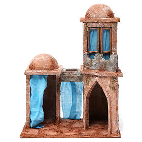 Arab house with domes, pointed arch and blue curtains for 12 cm nativity scene s1