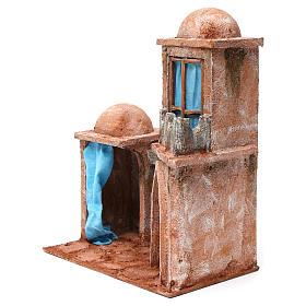 Casa árabe con doble cúpula doble porche con cortinas azules para belén 12 cm de altura media 35x30x20 s2