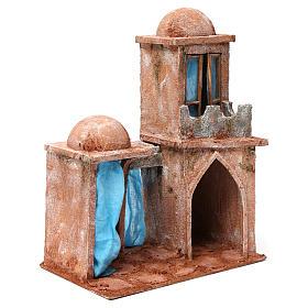 Casa árabe con doble cúpula doble porche con cortinas azules para belén 12 cm de altura media 35x30x20 s3