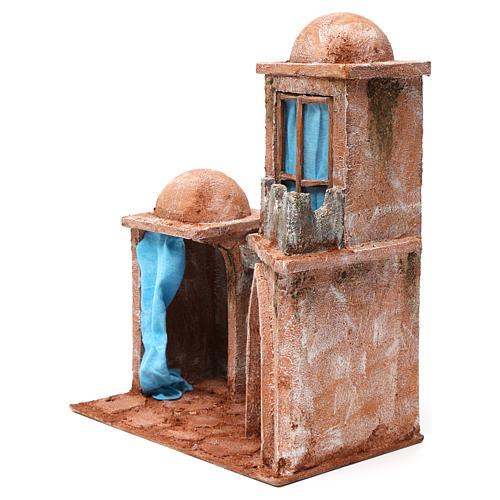 Casa árabe con doble cúpula doble porche con cortinas azules para belén 12 cm de altura media 35x30x20 2