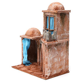 Arab Home with Double Dome and Double Portico with blue Curtains for 12 cm nativity 35X30X20 s2