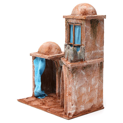 Arab Home with Double Dome and Double Portico with blue Curtains for 12 cm nativity 35X30X20 2