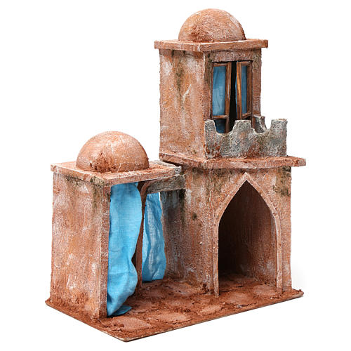 Arab Home with Double Dome and Double Portico with blue Curtains for 12 cm nativity 35X30X20 3