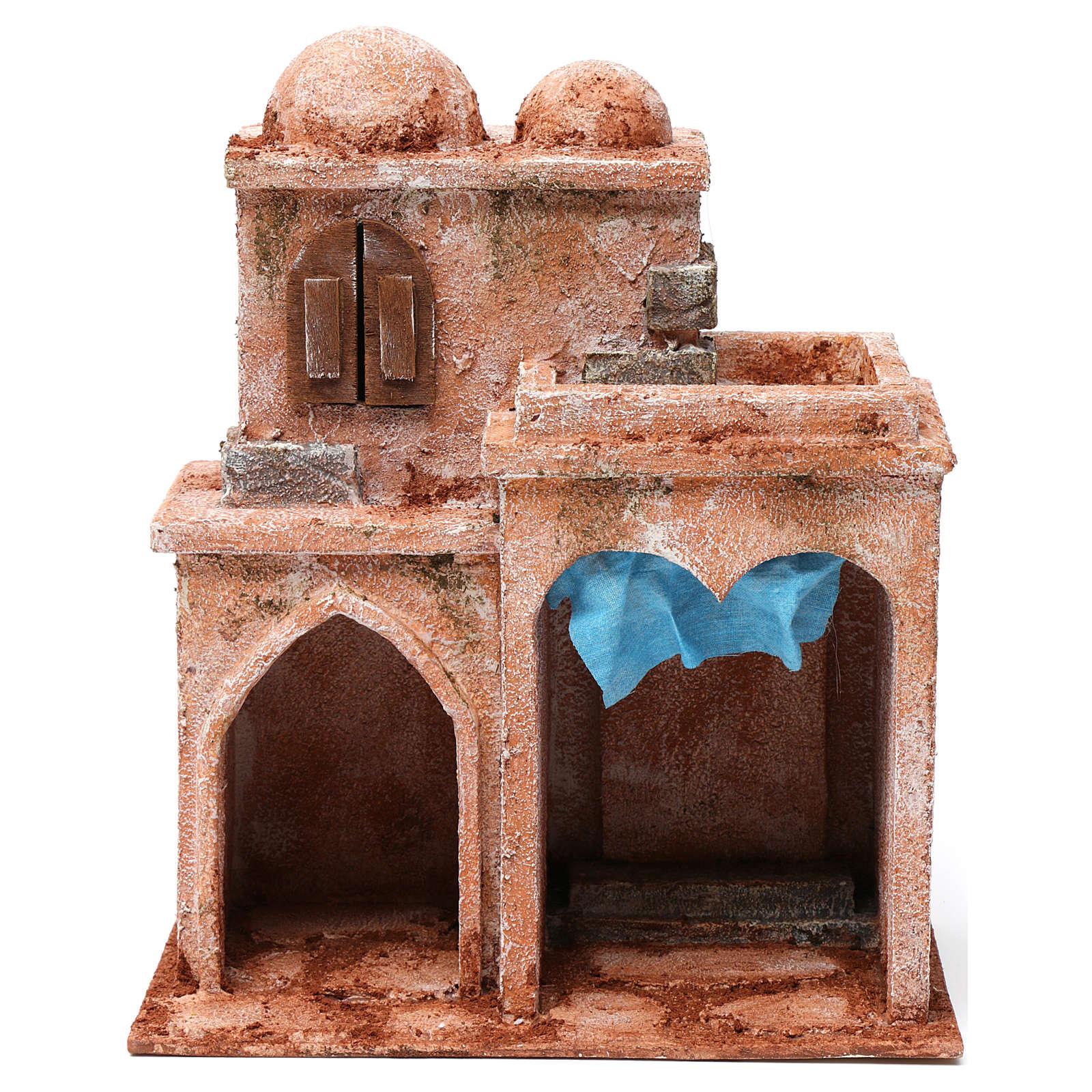 Casa araba doppia cupola doppio porticato tenda azzurra presepe 10 cm 30X25X15 4