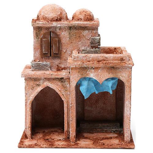 Casa araba doppia cupola doppio porticato tenda azzurra presepe 10 cm 30X25X15 1