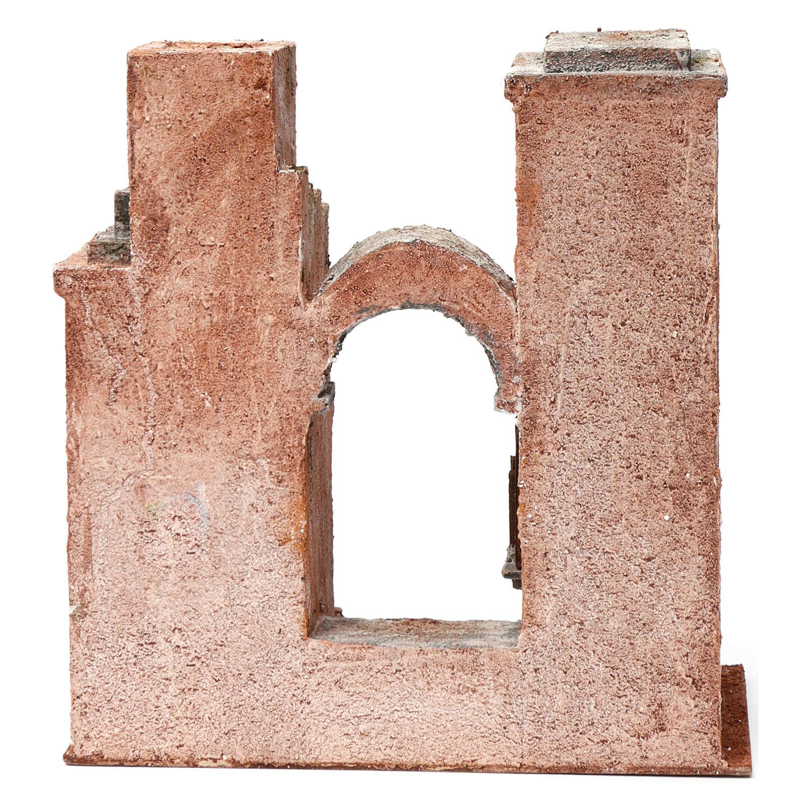 Ambientación árabe con arco y escalera para belén 10 cm de altura media 30x30x15 cm 4