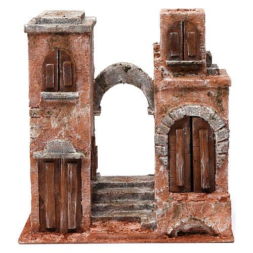 Ambientación árabe con arco y escalera para belén 10 cm de altura media 30x30x15 cm 1